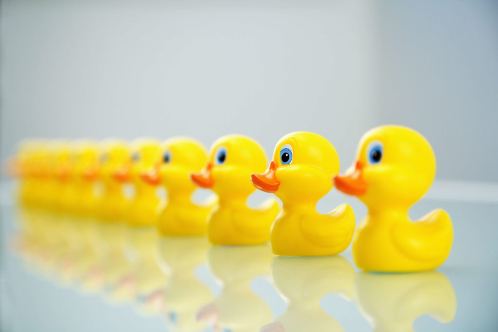 Concept of cliches on LinkedIn fading into existence represented by rubber ducks.