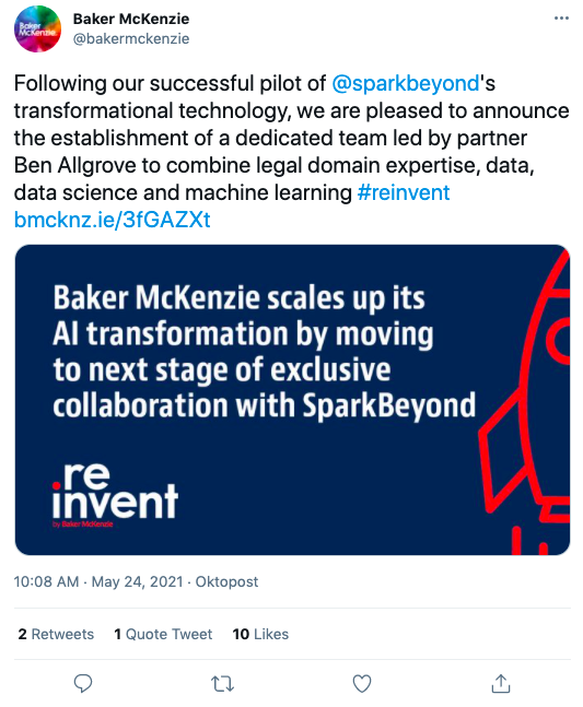 Baker McKenzie's use of their Twitter and Facebook as a built-in press office is a good way to leverage social media for law firms.